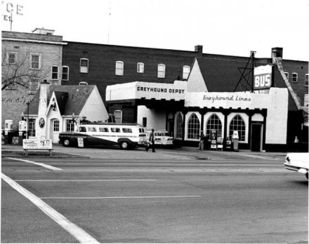 Greyhound Bus Depot. Norman Sams, June 1965. Courtesy of Special Collections, Pikes Peak Library District. Image Number: 101-4697.