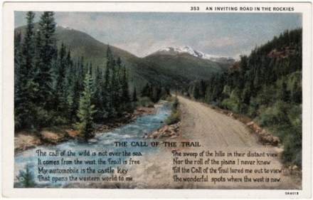 """An Inviting Road in the Rockies"" ca. 1935. Courtesy of Special Collections, Pikes Peak Library District. Image Number: 208-9445.jpg"
