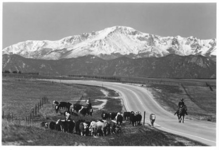 """Colorado 83 with Pikes Peak"" by Myron Wood, May 1973. Copyright Pikes Peak Library District, courtesy of Special Collections. Image Number: 002-1293."