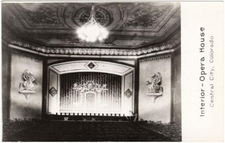 """Interior - Opera House,"" date and photographer unknown. Courtesy of Special Collections, Pikes Peak Library District. Image Number: 208-9436."