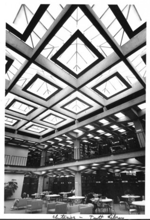 """Interior, Tutt Library"" by Myron Wood, November 1962. Copyright Pikes Peak Library District, courtesy of Special Collections. Image Number: 002-790."