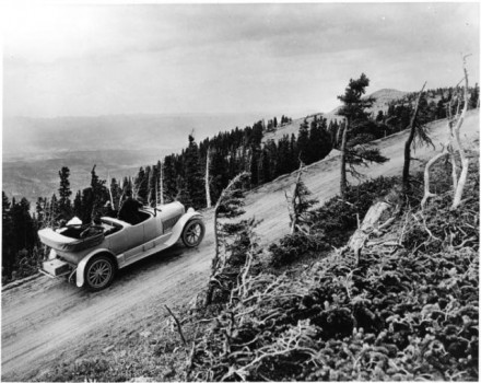 """Pikes Peak Auto Highway,"" photographer unknown, 1916. Courtesy of Special Collections, Pikes Peak Library District. Image Number: 001-5521."