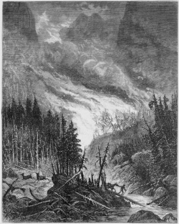 """Colorado Sketches - Forest on Fire,"" lithograph by J.M. Bagley, November 1879. Courtesy of Special Collections, Pikes Peak Library District. Image Number: 257-6266."