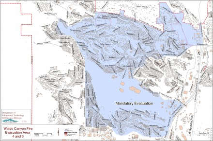 Waldo Canyon Fire Evacuation Map