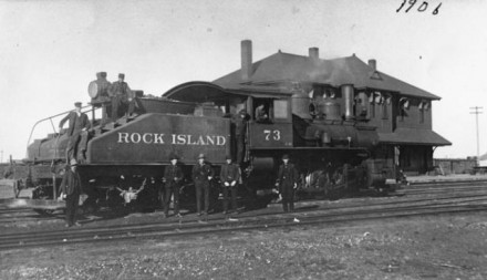 """Rock Island Line at Depot,"" ca., 1906,  photographer unknown. Courtesy of Special Collections, Pikes Peak Library District. Image Number:  001-385."