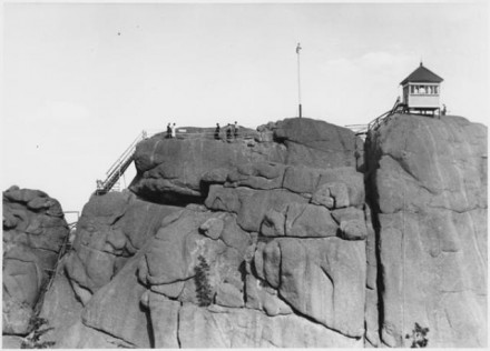 """Top of Devil's Head"" by Stewarts Commercial Photographers, date unknown. Copyright Pikes Peak Library District, courtesy of Special Collections. Image Number: 013-10850."