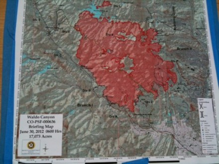 Waldo Canyon Fire Map 6/30/12