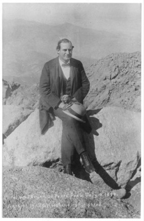 """Col. Wm. J. Bryan on Pikes Peak"" by J.G. Hiestand, July 10, 1899. Courtesy of Special Collections, Pikes Peak Library District. Image Number: 001-2264."