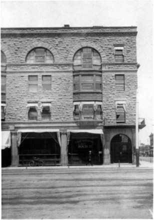 """First National Bank"", ca. 1896, photographer unknown. Courtesy of Special Collections, Pikes Peak Library District. Image Number: 031-4674."