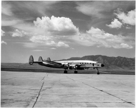 """President Eisenhower's Plane"" by Clarence Coil, date unknown. Courtesy of Special Collections, Pikes Peak Library District. Image Number: 013-4895."