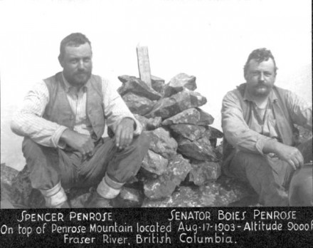 """Spencer and Boies Penrose"", August 1903, photographer unknown. Courtesy of Special Collections, Pikes Peak Library District. Image Number: 001-371."