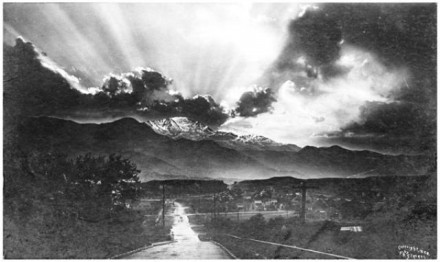 """Sunset Behind Pike's Peak"" by F.P. Stevens, 1898. Courtesy of Special Collections, Pikes Peak Library District. Image Number: 353-11261."
