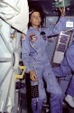 Sally Ride floats alongside Challenger&#039;s middeck airlock hatch. Image Credit: NASA