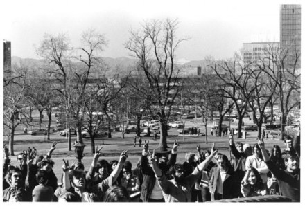 """""""Demonstration for """"Chicago 7"""", Denver"""" by Myron Wood, February 1970. Copyright Pikes Peak Library District, Courtesy of Special Collections. Image Number: 002-1563."""