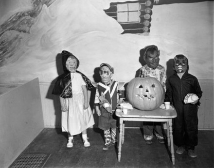 """Halloween Celebrants"" by Stan  Payne, October 30, 1953. Courtesy of Special Collections, Pikes Peak Library District. Image Number: 004-10648."