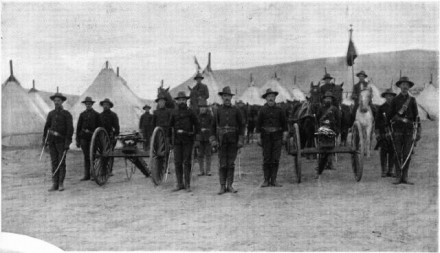 The Denver City Battery with their Gatling Guns, December 1896. Photographer unknown. Courtesy of Special Collections, Pikes Peak Library District. Image Number: 257-7892.