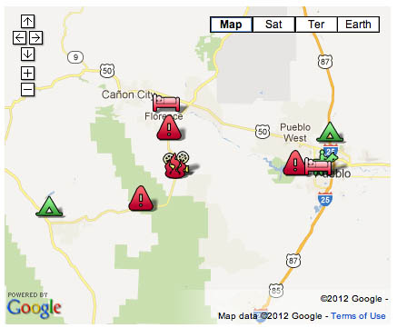Click on the image for an interactive map of the Wetmore Fire from the Colorado Office of Emergency Management.