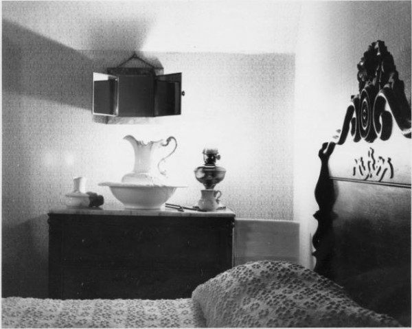 """McAllister House Interior"" by Norman Sams, 1965. Courtesy of Special Collections, Pikes Peak Library District. Image Number: 101-4758."