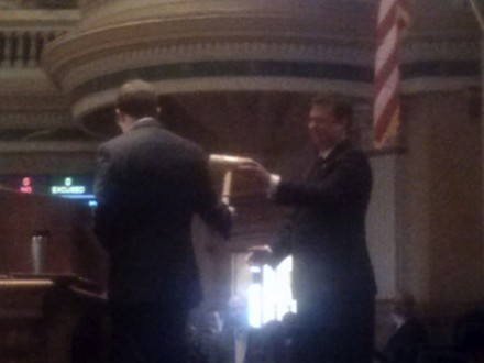 Democrat Mark Ferrnadino of Denver takes over the speaker's chair from Republican Frank McNulty of Highlands Ranch.