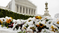 Snow covers flowers in front of the Supreme Court building on Monday in Washington, D.C. On Tuesday, the justices hear oral arguments on the constitutionality of California's Proposition 8, which banned gay marriage.