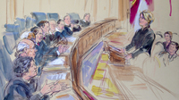 This artist rendering shows Roberta Kaplan, attorney for plaintiff Edith Windsor, addressing the Supreme Court during arguments on the Defense of Marriage Act on Wednesday.