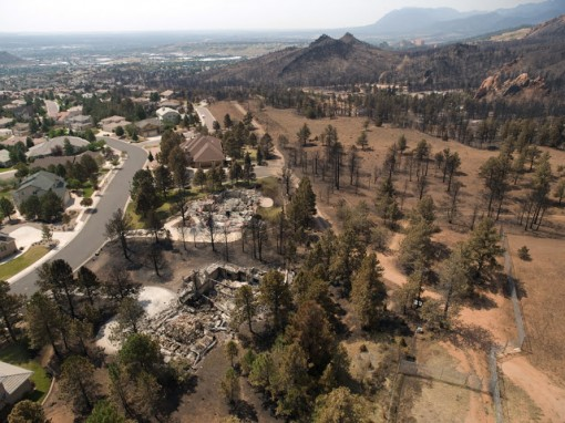 An aerial photo shot after the Waldo Canyon Fire shows a stark example of the Wildland Urban Interface. Photo:  Courtesy of NIFA