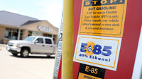 A decal advertising E85 Ethanol is displayed on a pump at a gas station on in Johnston, Iowa.