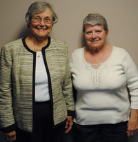 Sally Edwards, 80, (left) and Lue Hutchinson, 71, visited StoryCorps in Cincinnati. Their sons, Jack Edwards and Tom Butts, are buried at Arlington National Cemetery.
