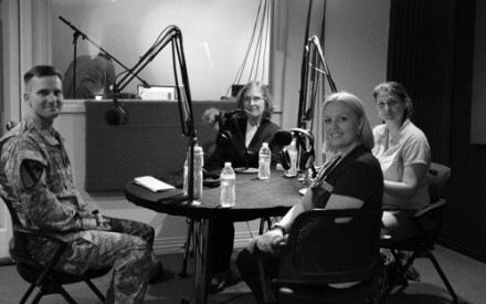 Left to Right: Lt. Col. Chuck Weber; Donna Finicle; Jennifer Soland; Andrea Chalfin