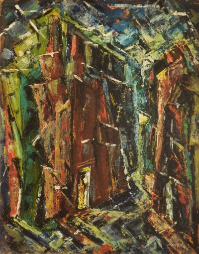 "Charles Bunnell, ""Abstract Cityscape,"" 1951, oil on board. Collection of Cyrus Moffett."