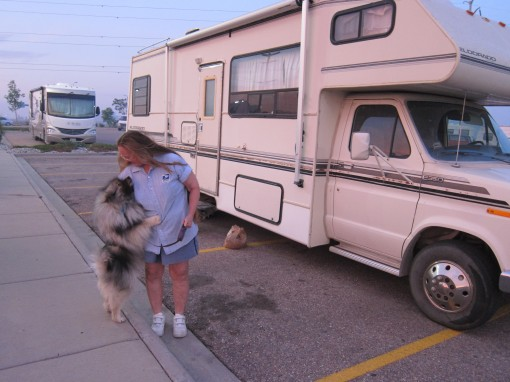 Black Forest evacuee Deanna Cox is staying in her RV at the Walmart parking lot while she waits for news of her home's fate in the fire.  (M. Mercer)
