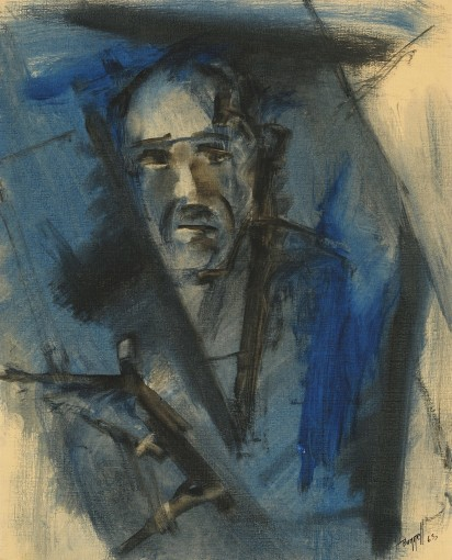 "Charles Bunnell, ""Self Portrait,"" 1963, gouache on paper. Collection of James and Virginia Moffett."